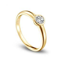 Bague solitaire alliance - Or jaune 18 carats - Diamant serti 0.30ct