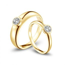Alliances Couple. Or jaune. Diamants 0.60ct | Galina & Martens