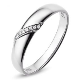 Alliance de Mariage Homme Sacha - Or Blanc & Diamants