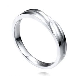 Alliance homme or blanc stylé en diagonale. Diamant clos | Bhalcan