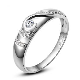 Alliance Femme solitaire diamants - Bague moderne Or blanc 18cts | Éclat glacé