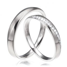 Alliances modernes homme et femme. Platine, diamants | Tea & Ovidio