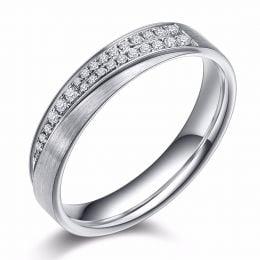 Alliance Sillage Amoureux Femme - Or Blanc, Diamants | Gemperles