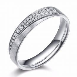 Alliance Sillage Amoureux Femme - Platine, Diamants | Gemperles