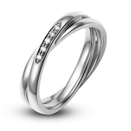 Alliance 2 anneaux platine Femme - Diamants | Marthe
