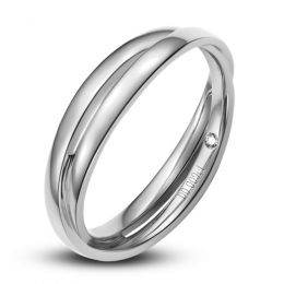 Alliance 2 anneaux or blanc Homme - Diamant