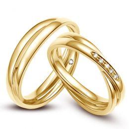 Duo d'alliances 2 anneaux or jaune - Diamants | Jessica & Orli