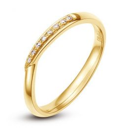 Alliance bague facettée - Alliance diamant Femme - Or jaune