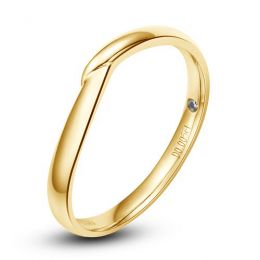 Alliance bague facettée - Alliance diamant Homme - Or jaune
