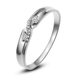 Alliance mariage diamants, or blanc, Femme I Monika