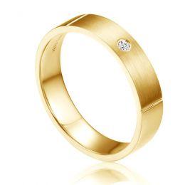 Alliance Mariage Homme Ramon I Or jaune Poli Brossé, Diamant