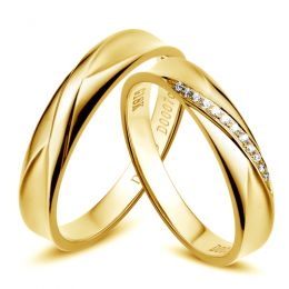 Duo d'alliances prestige - Design en diagonale -  Or jaune, diamants