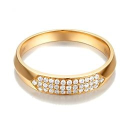 Alliance biseautée pour femme. Or jaune, pavage diamants | Lune Blanche