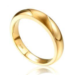 Alliance biseautée homme - Or jaune - diamant serti clos | Autour de moi