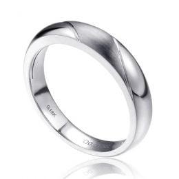 Alliance biseautée homme - Platine - diamant serti clos | Autour de moi
