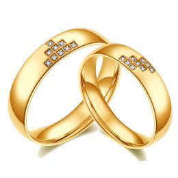 Alliances couple Tetris. En diamants et Or jaune
