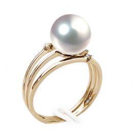 Bague or jaune - Perle Akoya blanche Japon - 3 anneaux, diamants