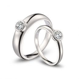 Alliances Couple. Or blanc. Diamants 0.60ct | Galina & Martens