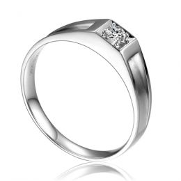 Alliance de type solitaire. Alliance Femme en or blanc et diamant | Adina