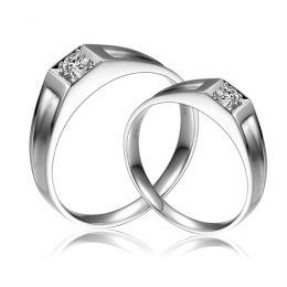Alliances de type solitaire - Alliances Duo platine et diamants