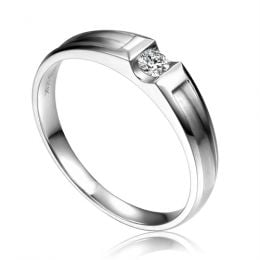 Alliance solitaire diamant -  Alliance Homme or blanc 18cts | Scott