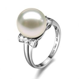 Bague or perle de culture - Perle blanche Chine - Or blanc, diamants