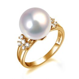 Bague anneau doublé or jaune - Perle blanche Chine et diamants sertis