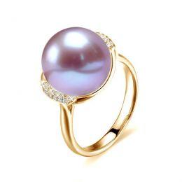 Anello Circulaire - Oro Giallo, Perla d'Acqua Dolce Lavanda