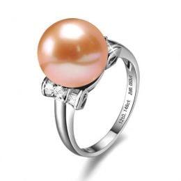 Bague or blanc nouée de diamants - Perle d'eau douce rose