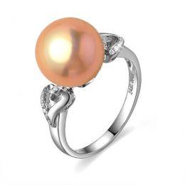 Bague coeur de perle diamanté - Or blanc et Perle d'eau douce rose