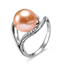 Bague femme perle - Or blanc, diamants - Perle de culture rose