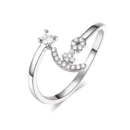 Bague enclume de bateau. Or blanc 18cts, diamants 0.11ct  | Gemperles