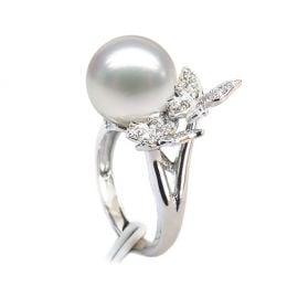 Anello Papillons - Perla dei Mari del Sud Bianca e Oro Bianco