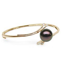 Bracelet jonc or jaune - Perle de Tahiti noire - 11/11.5mm, Top GEMME