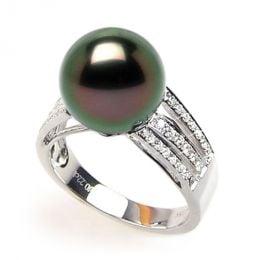Bague perle de Tahiti - Or blanc - Pavage diamants micro sertis