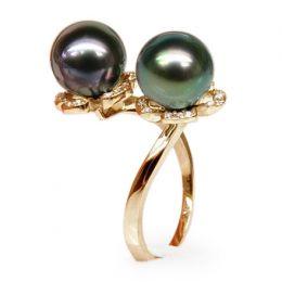 Anello Robben - Oro Giallo, Diamanti e Perle di Tahiti