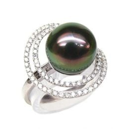 Création d'orfèvrerie - Bague luxe - Perle de Tahiti, or blanc, diamants