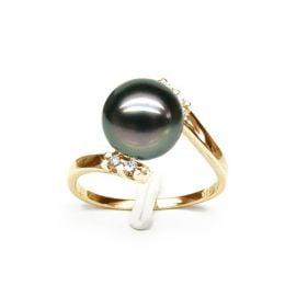 Anello Zabargad - Oro Giallo, Diamanti e Perla di Tahiti
