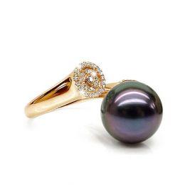 Bague perle de Tahiti verte aubergine - Or jaune, diamants micro-sertis