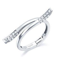 Bague anneau type pendentif. Cœur or blanc diamants | Polichinelle
