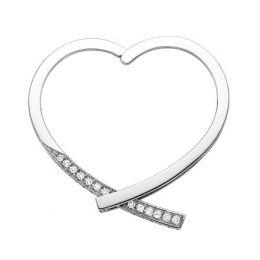Anneau bague type pendentif - Or blanc 18cts - Diamants