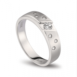 Bague alliance constellation diamantée - En or blanc 18cts - Homme  | Mirabeau