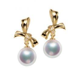 Boucles oreilles perles Akoya. Or jaune, diamants. Rubans, ganses
