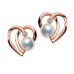Boucles Coeur contemporain Or rose. Perles Akoya, Diamants.