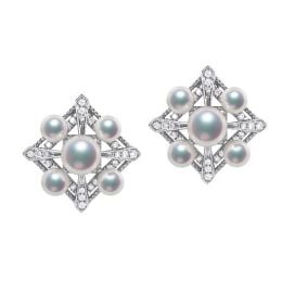 Boucles Oreilles Voyage stellaire. Or blanc Perle Akoya