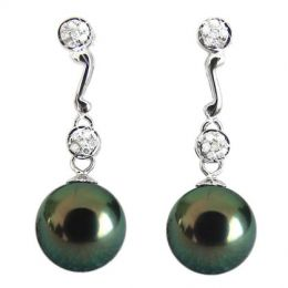 Boucles oreilles pendantes - Perles de Tahiti noires - Or blanc - Diamants