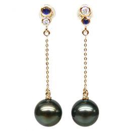 Orecchini Catenelle Romano - Perle di Tahiti, Oro Giallo