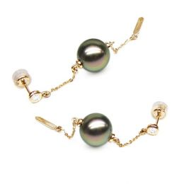Boucles oreilles perles de Tahiti - Chaine gourmette - Or jaune, diamants
