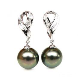 Boucles oreilles perles noires - Perle de Tahiti - Or blanc - Diamants sertis rails