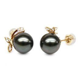 Boucles d'oreilles Bunny - Perles de Tahiti, or jaune, diamants sertis